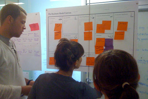Working together on a business model canvas for a 'micro-help' exchange service