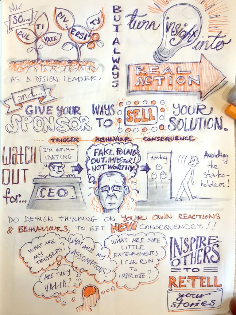 Sketchnote 2 - Design leadership, Sydney Design Thinking meetup
