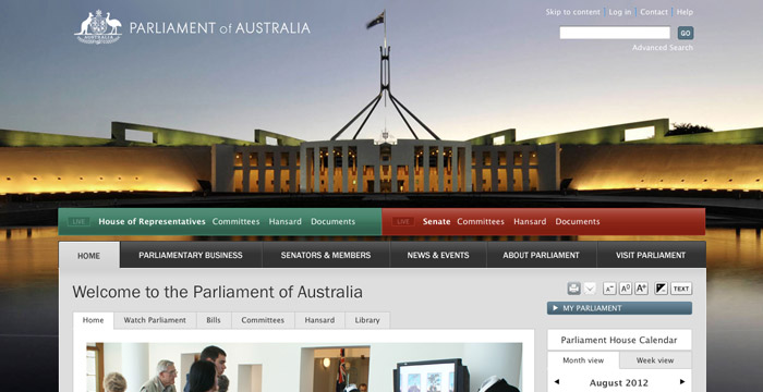 Parliament House website redesign